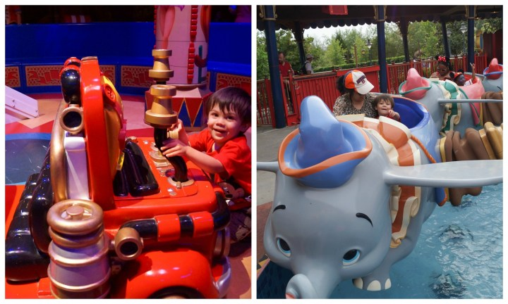 Dumbo ride at Disney World Magic Kingdom- playing with a fire truck while waiting in line and riding Dumbo with a blue hat.