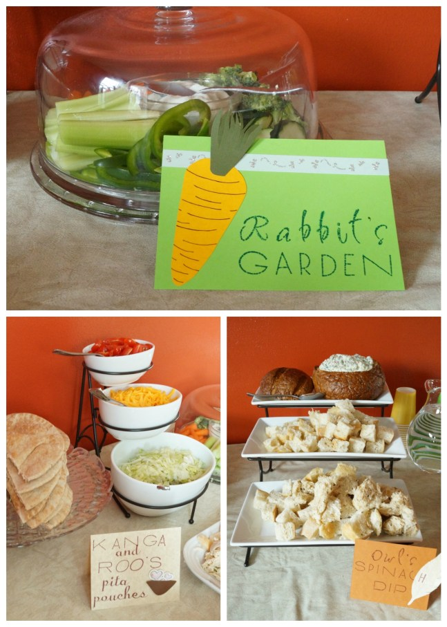 Three Photo Collage- Rabbit's Garden sign, Kanga and Roo's Pita Pouches, and Owl's Spinach Dip.
