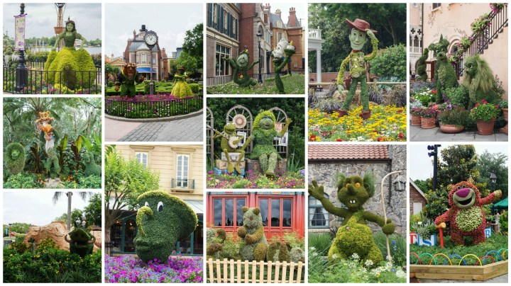 Collage of garden photos at Epcot International Flower and Garden Festival.