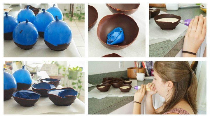 Five photo collage of balloons shaping chocolate into bowls, then filling with Honey White Chocolate Mousse.