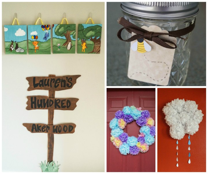 Four photo collage with Hundred Akerwood sign, jars with bee tags, and two wreaths.
