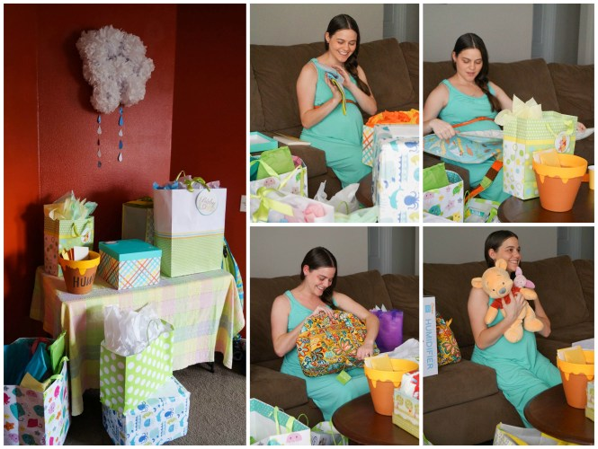 Woman opening presents at Winnie the Pooh baby shower.