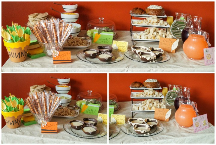 Three photo collage of Winnie the Pooh themed food table with a red background.