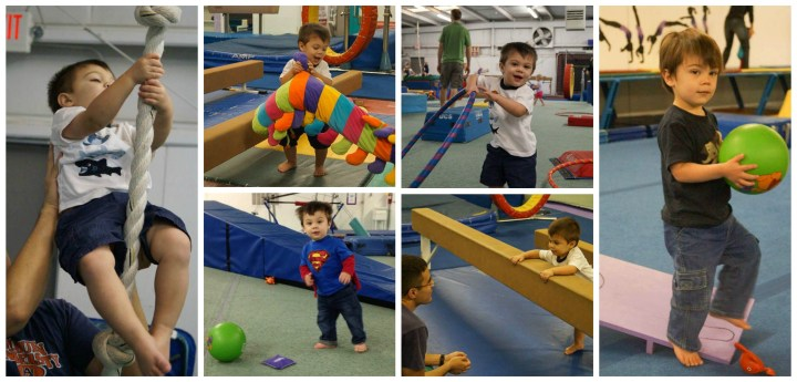 Climbing a rope and playing with toys at Emerald City Gymnastics.