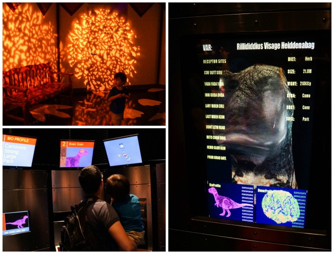 Exhibits and computer screens with dinosaurs at the Jurassic Park Discovery Center.
