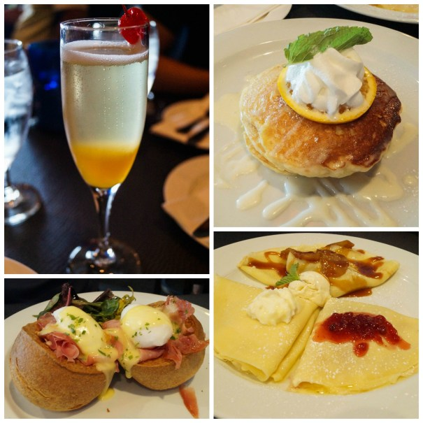 Mimosa, pancakes, and crepes at Clemenza's at Uptown Station.