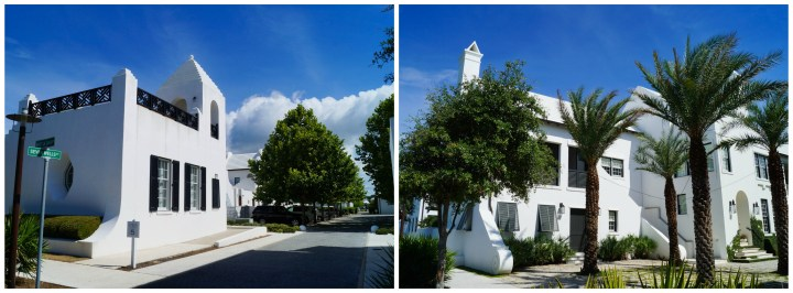 White buildings and palm trees in Alys Beach.