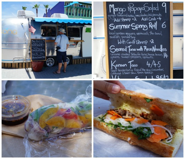 Song Airstream in Seaside, Florida with photos of the Vietnamese Sandwich and Summer Spring Roll.