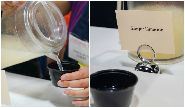 Pouring ginger limeade into a black cup at Zenful Bites.
