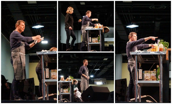 Bobby Flay performing a cooking demonstration.