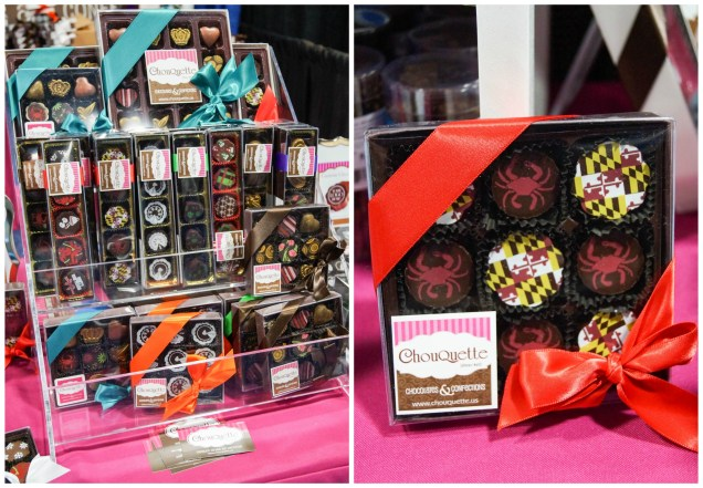 Chocolates arranged in clear boxes and wrapped with red/blue bows at ChouQuette.
