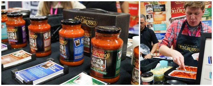 Jars of tomato sauce on display at DelGrosso.