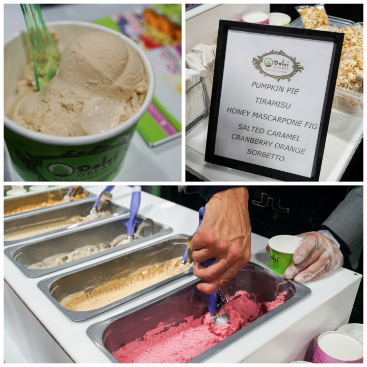 Scooping gelato into a green paper cup at Dolci Gelati.