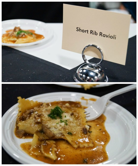 Short rib ravioli on a white plate from Osteria Marzano.