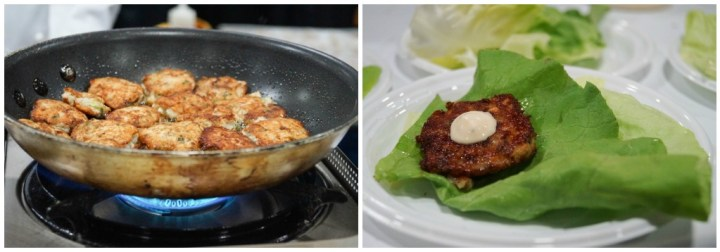 Calamari cakes on lettuce wraps at The Fourth Estate at the National Press Club.