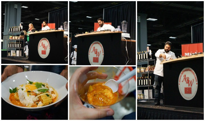 Victor Albisu performing a cooking demonstration with samples of soup and ceviche.