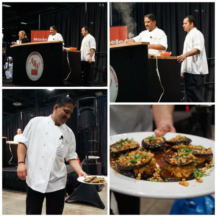Vikram Sunderam performing a cooking demonstration and preparing eggplant.