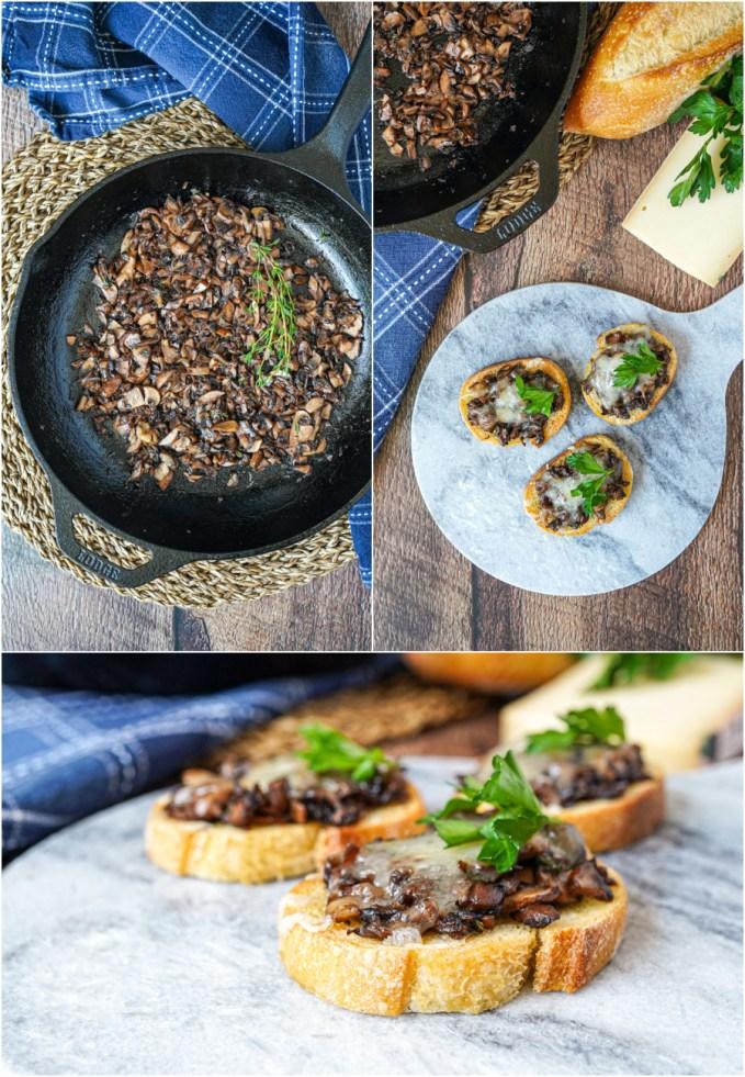 Three photo collage of sautéed mushrooms and Mushroom Fontina Crostini on a marble slab.