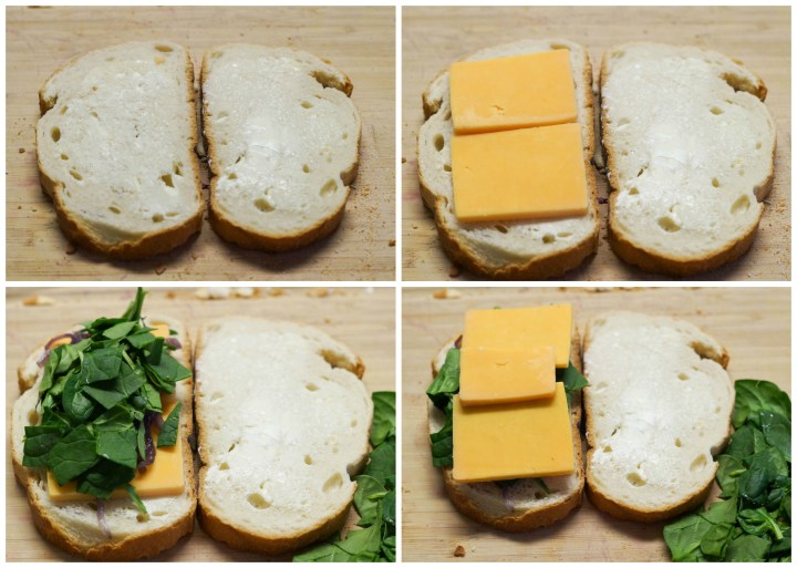 Layering grilled cheese with slices of cheese and chopped spinach.