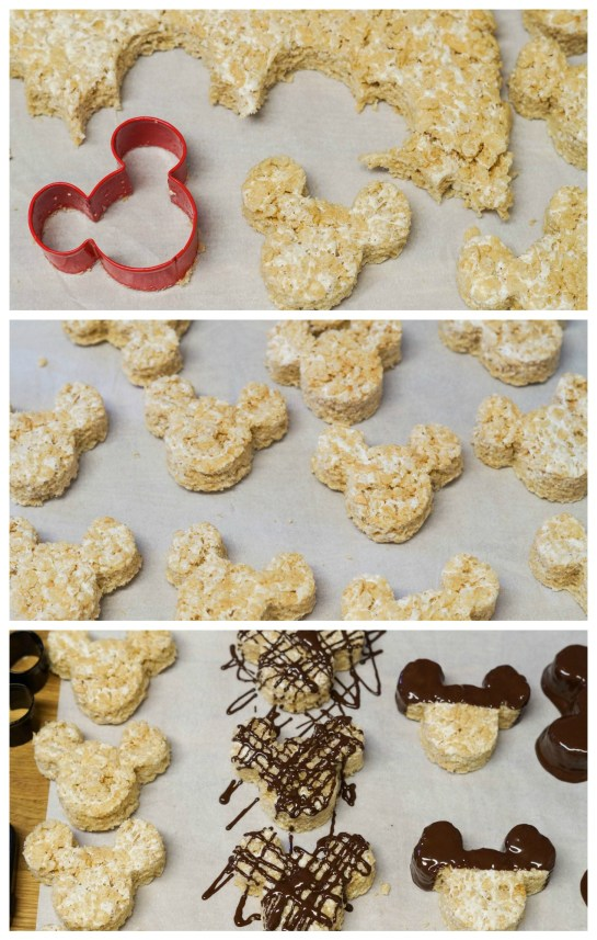 Cutting Rice Krispie treats into Mickey Mouse shapes and covering in chocolate.