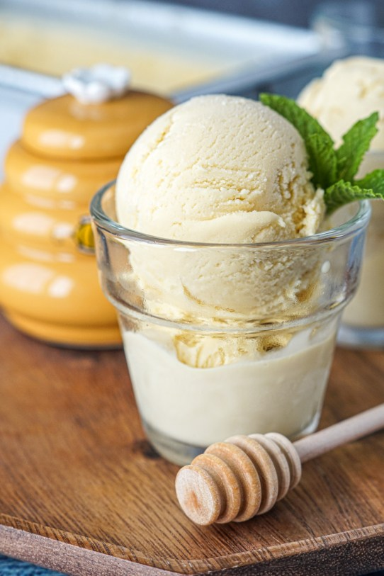 Burnt Honey Ice Cream in a glass with mint