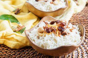 Sri Lankan Butter Rice in two tan bowls.