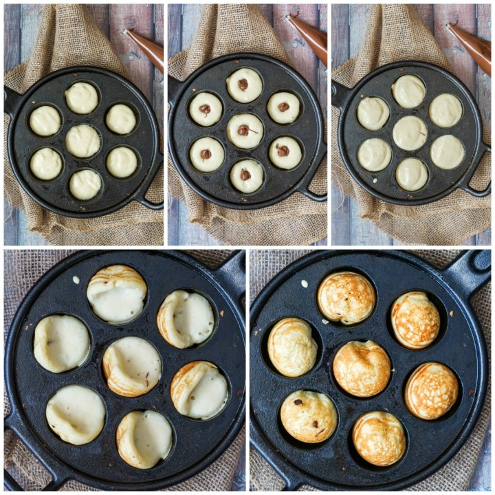 Forming the Nutella Stuffed Aebleskiver- filling the pan, piping with Nutella, covering the top, and turning in the pan as it cooks.