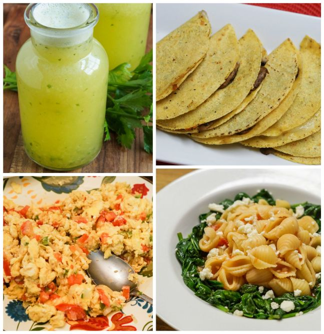 Other dishes from Eat Mexico- Agua dePiña con Perejil (Pineapple-Parsley Cooler), Quesadillas de Hongos (Mushroom Quesadillas), Huevos a la Mexicana (Mexican-Style Eggs), and Sopa with Spinach and Cheese.