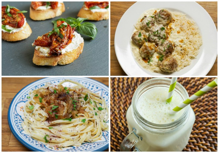 Yogurt Other Dishes- Roasted Tomato Bruschetta with Yogurt Cheese; Lamb Meatballs in Warm Yogurt Sauce with Sizzling Red Pepper Butter; Fettuccine with Fried Onions, Yogurt, and Poppy Seeds; and Fresh Pineapple Lassi.
