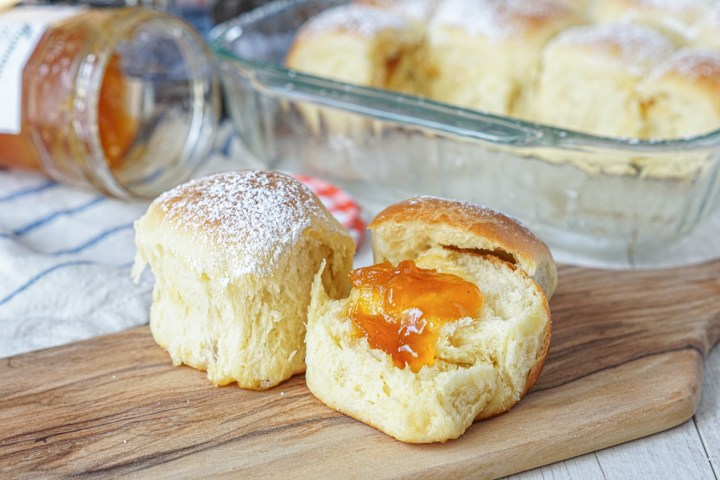 Buchteln (Austrian Pull-Apart Rolls) with apricot jam