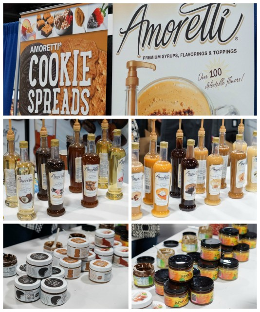 Bottles of syrup and cookie spreads at Amoretti.