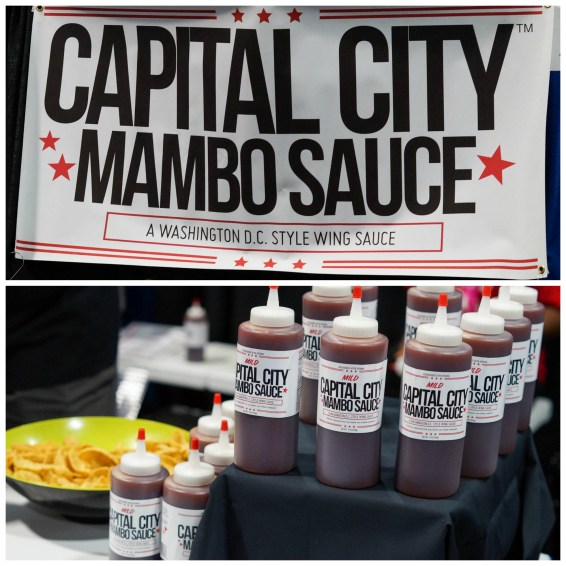 Bottles of sauce lined up at Capital City Mambo Sauce.