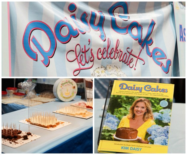 Pieces of cake and a cookbook on display at Daisy Cakes.