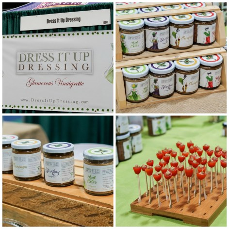 Jars of salad dressing and tomatoes on toothpicks at Dress It Up Dressing.