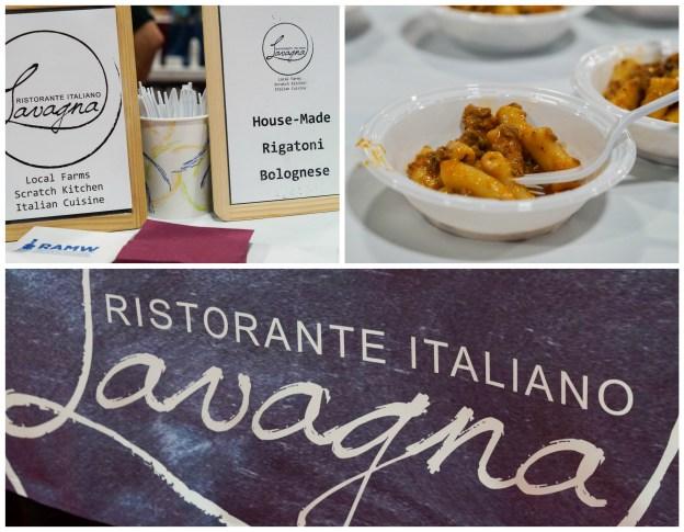 Rigatoni Bolognese in a white bowl at Ristorante Italiano Lavagna.