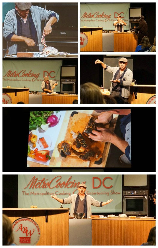 Michael Symon performing a cooking demonstration and cutting a chicken.
