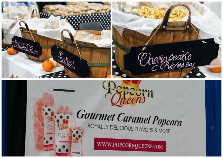 Caramel Popcorn on display in large barrels at Popcorn Queens.