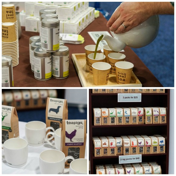 Teas on display and pouring tea into paper cups at Teapigs.