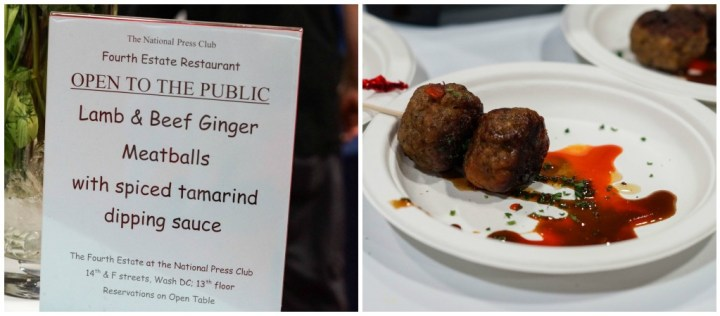 Lamb and Beef Ginger Meatballs with Spiced Tamarind Dipping Sauce from The Fourth Estate.