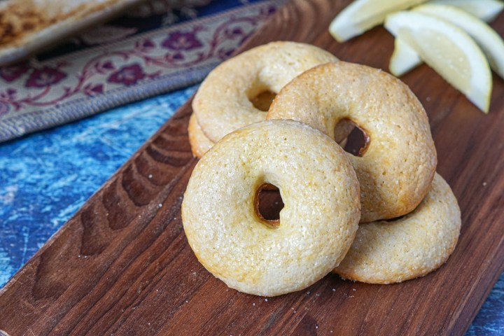 Close up of Twabaa (Algerian Lemon and Olive Oil Cookies)