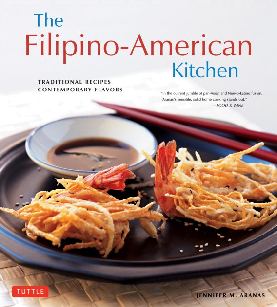 Cookbook cover- The Filipino-American Kitchen: Traditional Recipes, Contemporary Flavors by Jennifer M. Aranas.