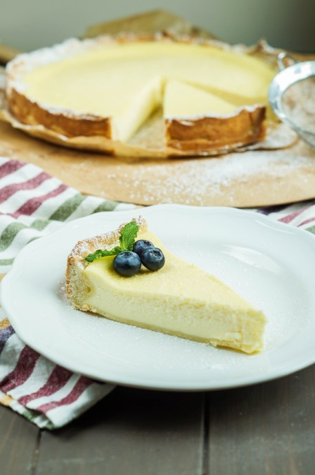 Badischer Rahmkuchen (Baden-Style Cheesecake) on a plate topped with blueberries