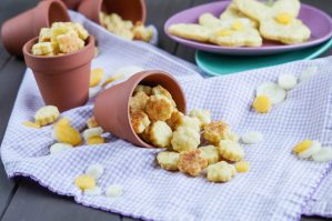 Carrot Cheddar Crackers cut into flowers and bunnies.
