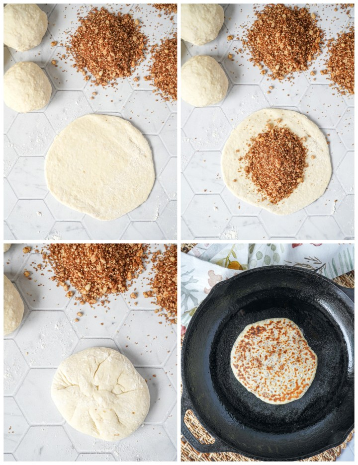 Filling the Hodduk (Korean Sweet Fried Pancakes) with brown sugar mixture and pan-frying.