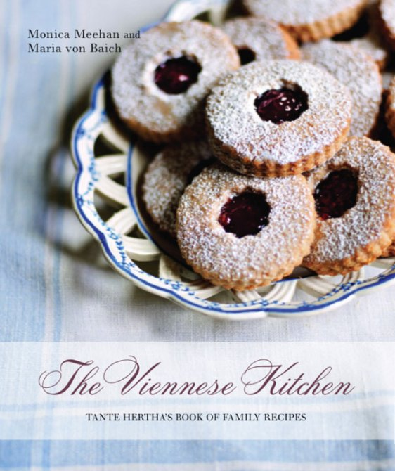 The Viennese Kitchen cookbook cover- The Viennese Kitchen: Tante Hertha's Book of Family Recipes with a plate of Linzer Cookies.