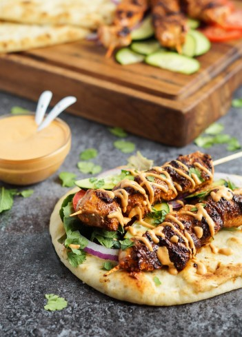 Grilled Chicken Naan Wraps with Roasted Red Pepper Tahini Sauce