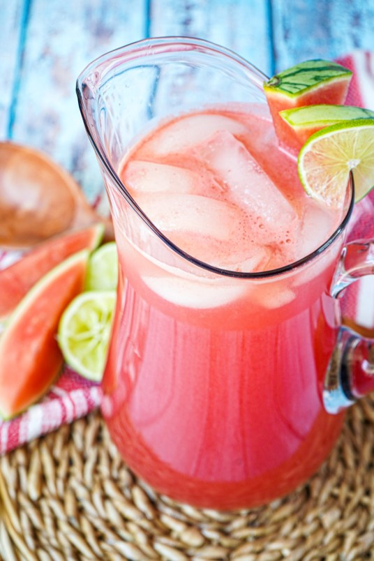 Agua de Sandía (Mexican Watermelon Water) in a large pitcher with ice.