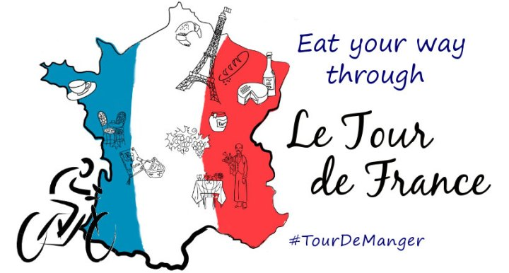 Outline of France with the colors of the French Flag next to a cyclist. Text overlay- Eat Your Way Through Le Tour de France #TourDeManger.