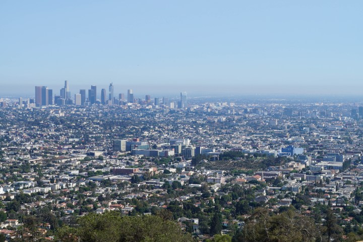 View of Los Angeles from the Griffith Observatory. Downtown skyscrapers in the distance.