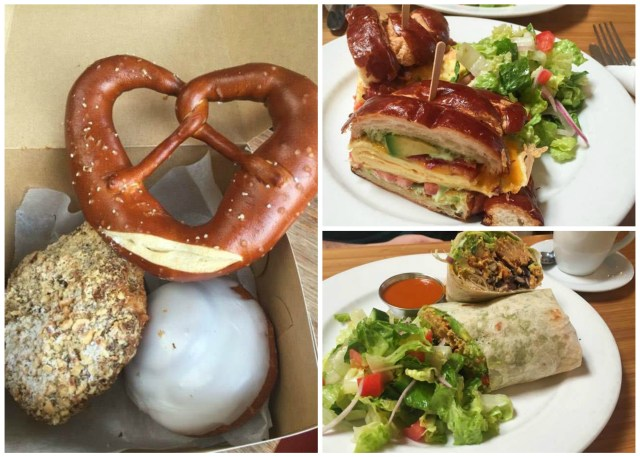 Pretzel, croissant, and cinnamon roll in a box. Wrap with a salad and pretzel croissant sandwich from Röckenwagner Bakery